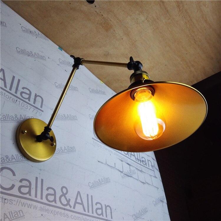 Латунь закончил двойные поворотный кронштейн настенный светильник внутреннего освещения прикроватные лампы бра для дома отель магазин ук...
