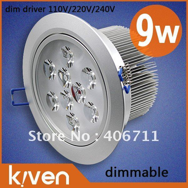 High power!2013 led indoor downlights dimmable   9w  Silver shell Cool /warm white Ac85-265V energy saving