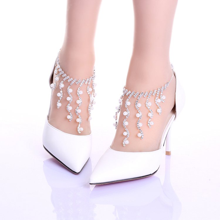ФОТО Rhinestone chain wristband wedding shoes elegant thin heels shoes pointed toe performance shoes female sandals