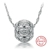 YANHUI Fine Jewelry 100 925 Sterling Silver Bead Pendant Necklace For Women Silver Chains Statement Necklaces