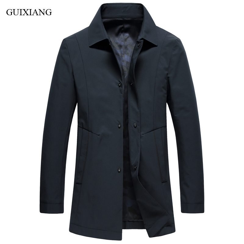 2018 New Arrival Style Men High-end Boutique Leisure Trench Coat Business Casual Covered Botton Solid Men's Slim Trench Dress
