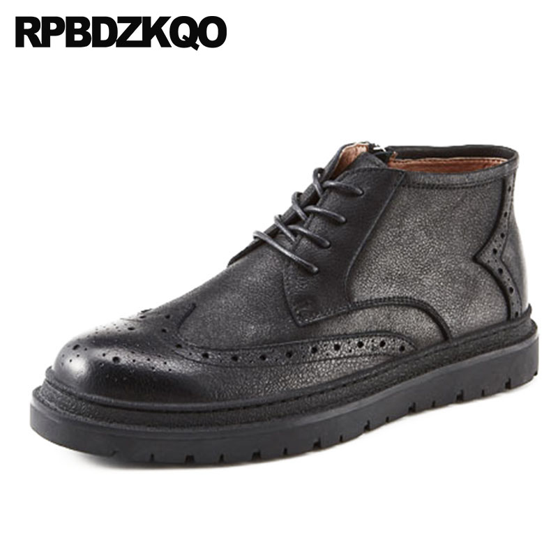 Designer Shoes Wingtip Platform Fall Men High Top Booties Brogue Ankle Full Grain Leather Boots British Style Black Thick Soled ankle strap heels wrap full grain leather t low cut uppers british style high quality round toe single shoes with thick soles