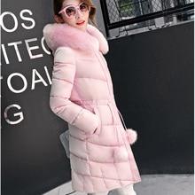 Плюс Размер 2016 Мода Куртка Женщин Тонкий Длинный Хлопка Мягкой Куртка С Капюшоном Куртка Женская Ватные Куртки Искусственного Меха Воротник зимнее Пальто