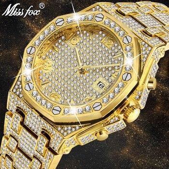 Relógios masculinos marca de topo relógio de luxo masculino tendência único ff árabe diamante relógio 18k ouro quartzo gelo para fora relógio cronógrafo