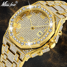 Mens Watches Top Brand Luxury Watch Men Trending Unique FF Arabic Diamond 18k Gold Quartz Iced Out Chronograph