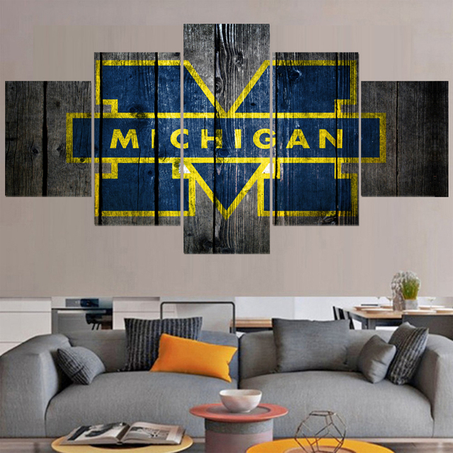University Rugby Michigan Wolverines Paintings Modern Home Decor Living Room Bedroom Wall Art Canvas Print Painting Calligraphy