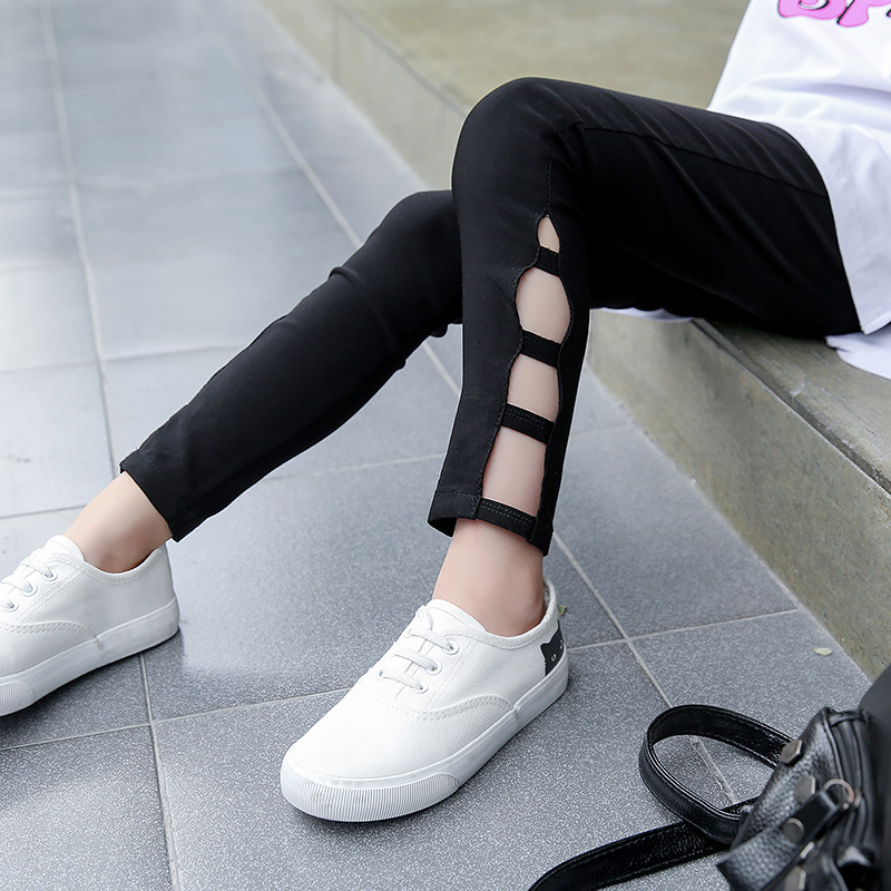 Kids Girls Leggings Cotton Pants Spring Fall Children Girls Trousers Kids Ripped Pants Leggings Girls Pants Kids Clothes Black high quality mens jeans ripped colorful printed demin pants slim fit straight casual classic hip hop trousers ripped streetwear