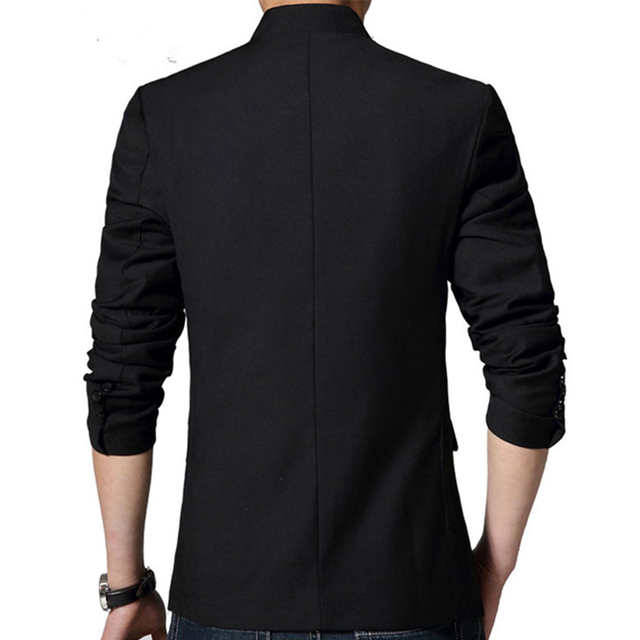 Chinese Style Mandarin Collar Suit Jacket Single Breasted Tunic Suit Jacket Mens Black Jacket Stand Collar