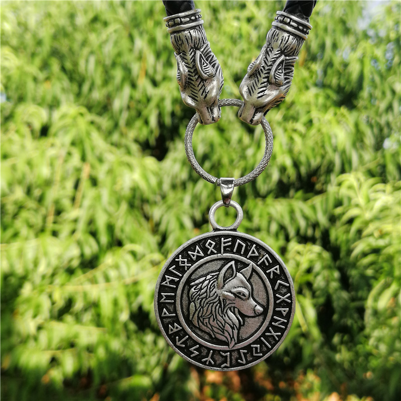 Futhark Viking wolf necklace knot pendant Men Amulet Retro Style leather 1pc drop shipping