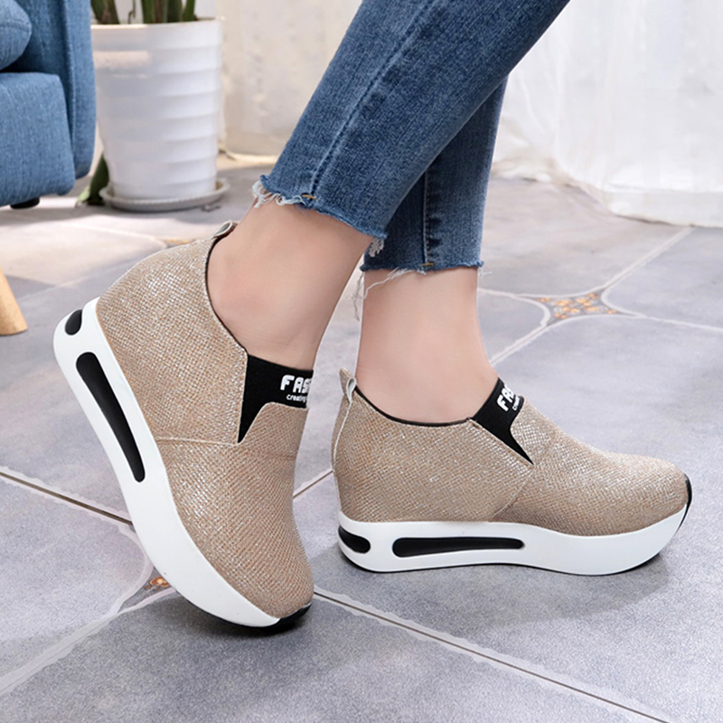 Detail Feedback Questions about Spring Golden Glitter Wedge Sneakers For  Women Wedge Shoes Female Casual Platform Shoes Woman Chunky Sneakers  chaussure ... fc30b46abb45