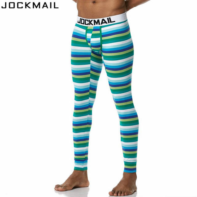JOCKMAIL Brand New Autumn and winter Men long johns thermal underwear Leggings Pants High Quality Cotton Fashion Sexy stripes