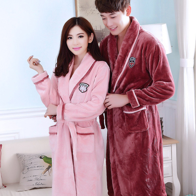 Bath Robe Female Lovers Coral Fleece 21 Colors Night Gown Spa Bathrobe  Unisex Bath Robe Man f8c64fac6