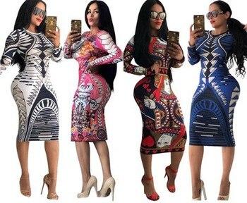 2018 האפריקאי דאשיקי סתיו וחורף חדש הדפסת גדול אלסטי עיצוב ארוך שרוול סקסי מועדון לילה שמלת חליפת עבור גברת