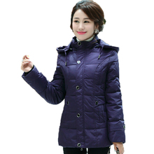 WAEOLSA Winter Woman Hooded Puffer Jackets Purple Dark Red Quilted Coats Middle Aged Womens Hood Puff Overcoat Padded Coats 3XL