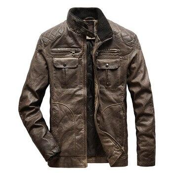 Autumn Winter Leather Jacket Men Vintage Moto&Biker Leather Coat Men Warm Windbreaker PU jaqueta de couro Outerwear Men S-XXXL