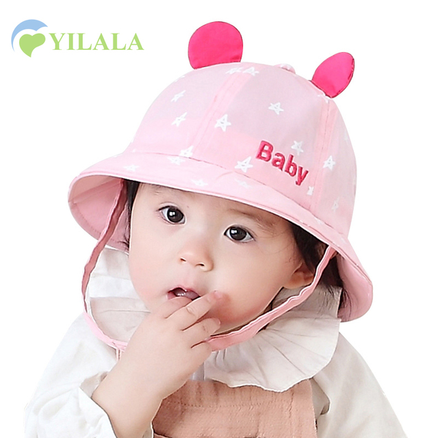 ccc15aade0253 Cute Star Baby Boys Hat Toddler Girls Hat Mouse Ear SpringKids Bucket Hat  Baby Girl Sun