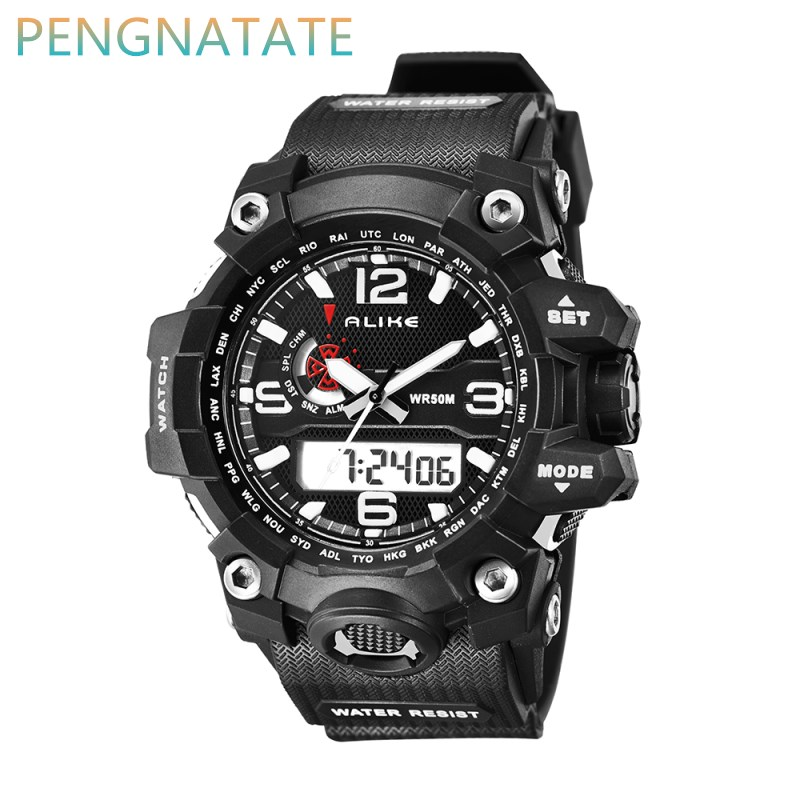 Alike Fashion Brand Sports Watch Men Digital Shock Resistant Quartz Alarm Wristwatches O ...