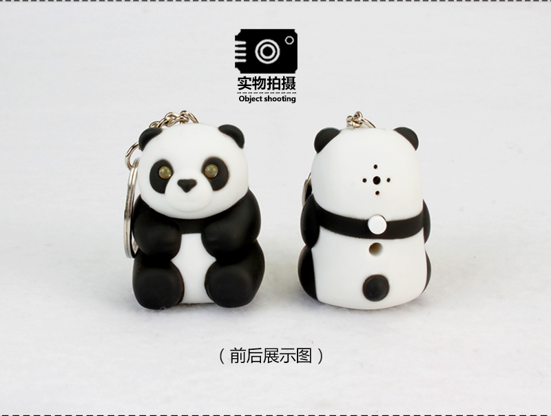LED Cartoon Panda Pendant Keychain Bag Mini PVC Action Figure with Sound Light LED Flashlight Cartoon Animal Keyrings Key Chain