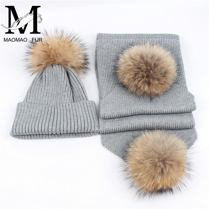 50ecd5483bd Women Scarf And Hat Set Winter Fashion Warm Woolen Knitted Scarf And Cap  Ladies Real Big Raccoon Fur Pom Pom Hats and Scarves-in Scarf