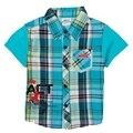 Camisa de chico de moda niños de los niños ropa de tartan y cartón coche primavera verano corto de la camiseta para los bebés