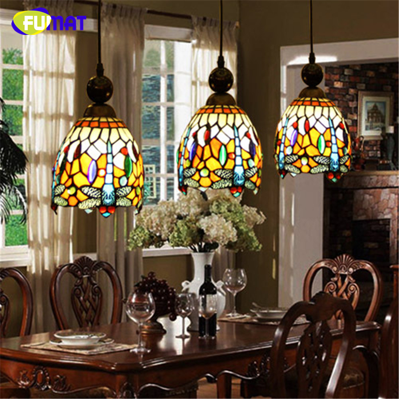 FUMAT Stained Glass Pendant Lamp Art Vintage Dragonfly Glass Shade Lamp LED Restaurant Kitchen Dining Room Glass Pendant Lights fumat stained glass pendant lights garden art lamp dinner room restaurant suspension lamp orchids rose grape glass lamp lighting