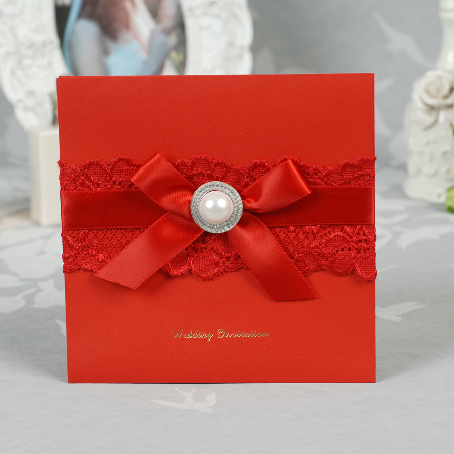 Red Color Square Wedding Invitation Card with nice bow and ...