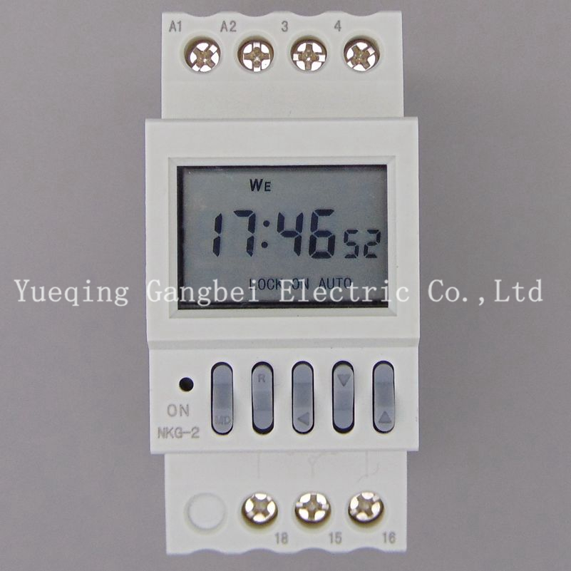 Gangbei NKG-2 LCD Microcomputer Time Switch DIN RAIL DIGITAL PROGRAMMABLE TIMER SWITCH time relay 0 01 999 second 8 terminals digital timer programmable time relay