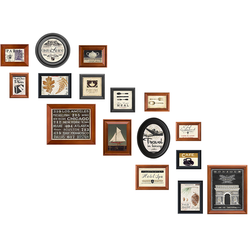 Vintage Photo Frame For Stairs Picture Frame For Wall Decor 16 Pcs/set Wooden Black Frame For Pictures Hanging Photo Album Foto