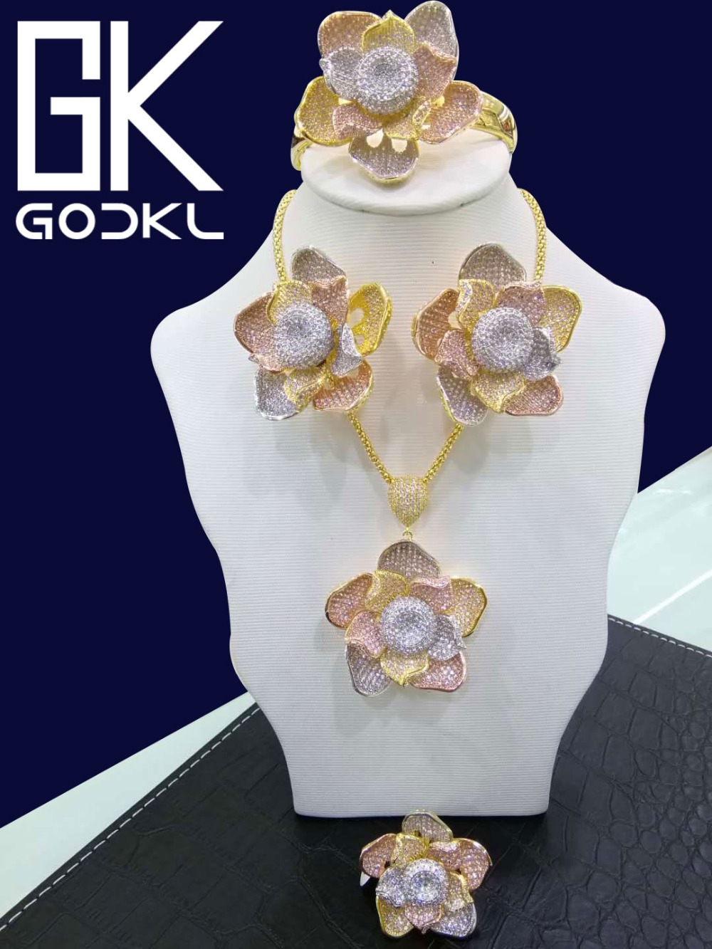 GODKI Luxury Nigerian Jewelry sets For Women Wedding Cubic Zirconia Flower African Beads Jewelry Sets Indian bridal jewelry sets