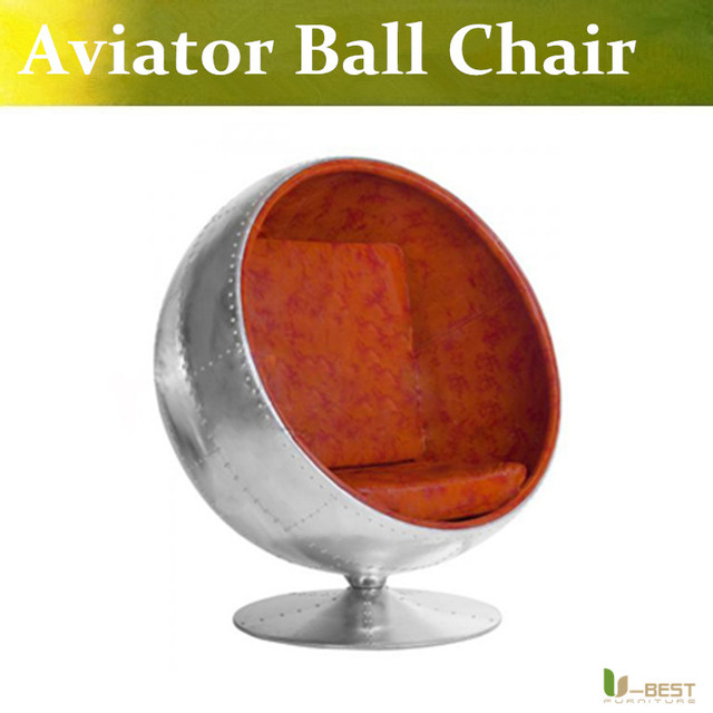 U-BEST Egg Pod Aviator Ball chair Aluminum with rivets with vintage brown leather , Premium Leather Design chairs