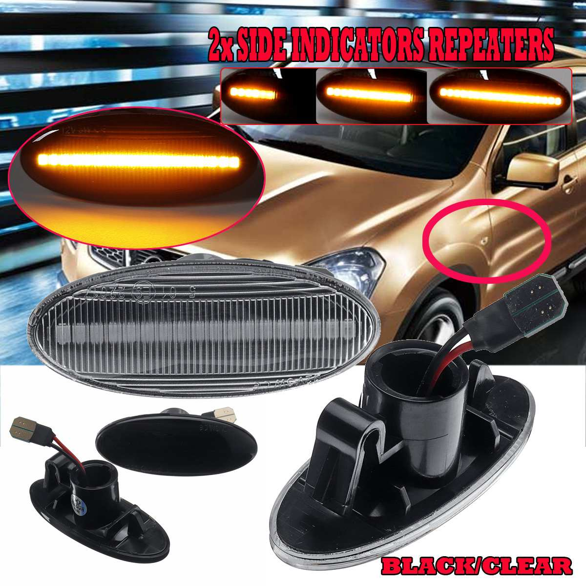 2x Fits Nissan Leaf 4-LED Side Repeater Indicator Turn Signal Light Lamp Bulbs