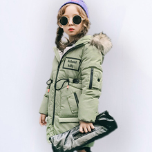 Girls Winter Coat turtleneck Warm Hooded Girl Long Coats Fur Collar Children outerwear Fashion Parkas Kids zipper jacket  4-12Y