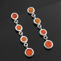 2015 New For Summer Noble Sythetic Orange Fire Opal Women Stud Earrings Long Style 1 3