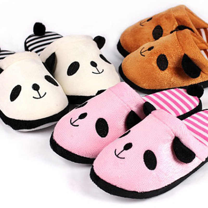 New Adorable Fluffy Ladies Autumn Winter Warm Plush Anti-slip Panda Tail Women Slippers Cute Coral Soft Home Slippers