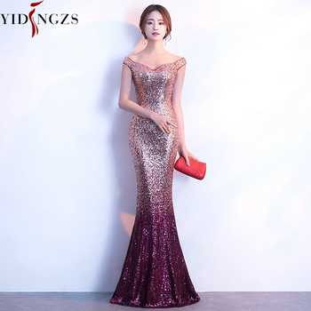 Robe De Soiree YIDINGZS Evening Dress Long Sparkle New Women Elegant Sequin Mermaid Maxi Evening Party Dress YD199 - DISCOUNT ITEM  60% OFF All Category