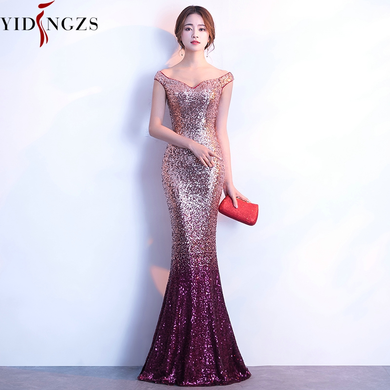 Robe De Soiree YIDINGZS   Evening     Dress   Long Sparkle New Women Elegant Sequin Mermaid Maxi   Evening   Party   Dress