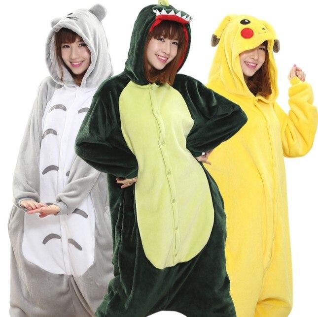 Unisex Flannel Pajamas Sets Unicorn Stitch Panda Cartoon Sleepwear Cosplay Animal Onesies For WomenMan Adult Child Pajama Winter