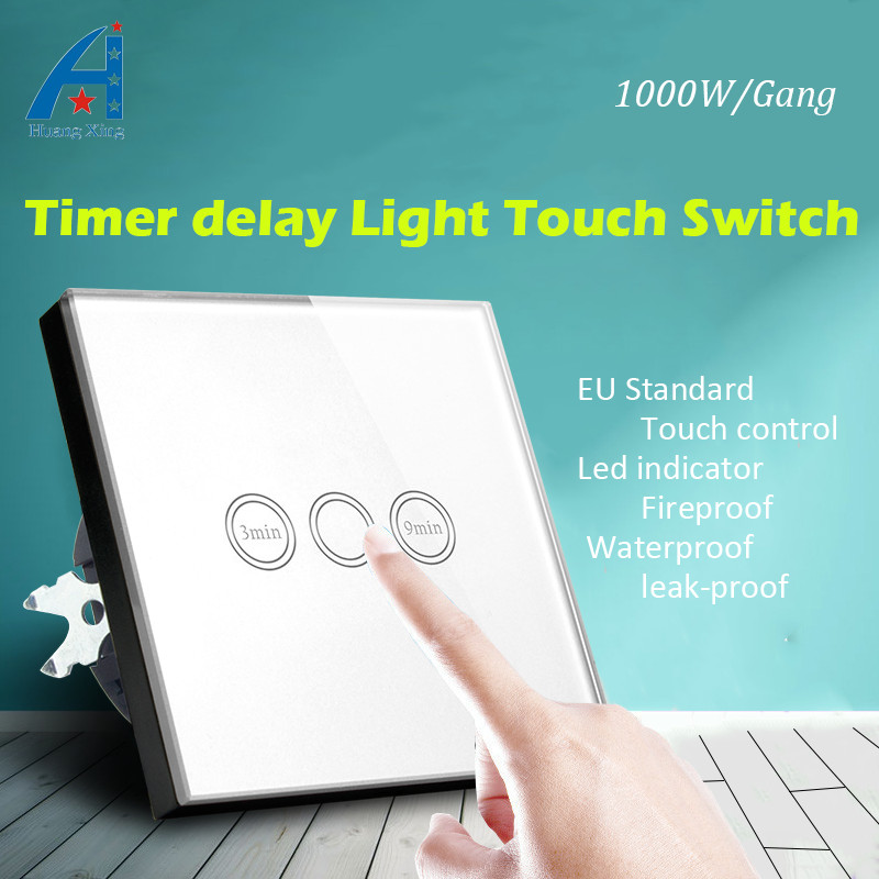 New 1000w light Timer Delay Touch Switch (3-9min Time Delay), EU Standard Crystal Glass Panel Wall switch, with LED indicator touch on off switches the intelligent control induction time delay switch panel led light intelligent protection lzx