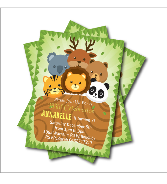 20 Pcs Lot Safari Birthday Party Invitations Jungle Zoo Baby Shower Invites Kids Decoration Supply Free Shipping