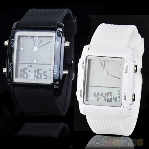 Fashion Womens Mens Digital LED Chronograph Quartz Sport Wrist Watch  6XAJ