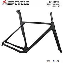 Spcycle 탄소 자갈 프레임 최대 타이어 700x40C 또는 27.5x2.1 탄소 Cyclocross 자전거 디스크 브레이크 BB386 도로 자전거 Frameset