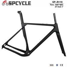 Spcycle Carbon Gravel Frame Max Tire 700x40C or 27.5x2.1 Carbon Cyclocross Bike Disc Brake BB386 Road Bicycle Frameset