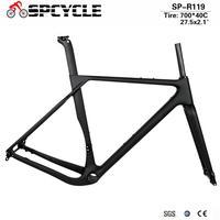 Spcycle Carbon Kies Rahmen Disc Bremse BB386 Carbon Cyclocross Fahrrad Rahmen Aero Road Fahrrad Rahmen Max Reifen 700 * 40C oder 27.5*2 1