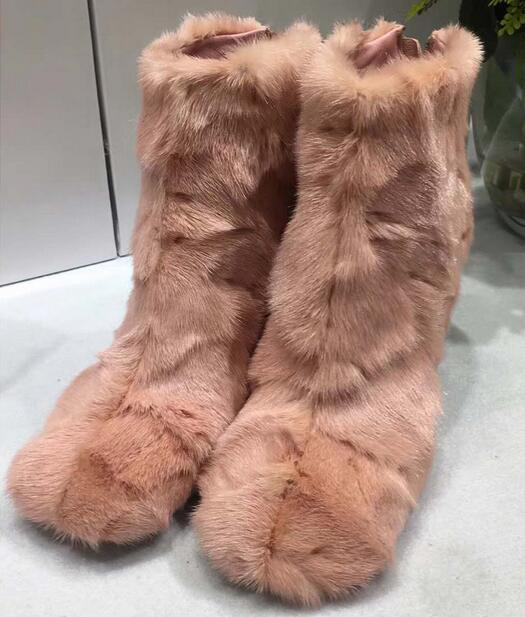 2018 Winter Hot Real Fur Women Ankle Boots Round Toe Ladies High Heel Snow Boots Zipper Back Warm Boots Sexy Stiletto Boots
