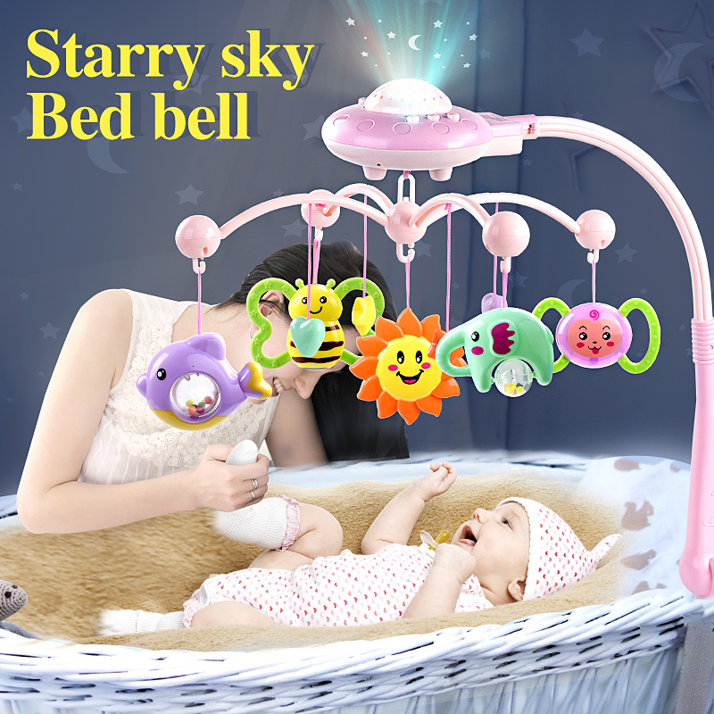 newborn infant toddler baby toys 0-12 months for children kids boys girls on bed bell electric cribs mobile musical box rattles baby musical crib mobile bed bell baby hanging rattles rotating bracket projecting toys for 0 12 months newborn kids gift
