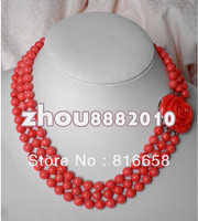 Free shipping@@Rare 3 rows 8mm Japan Pink Sea coral beads necklace
