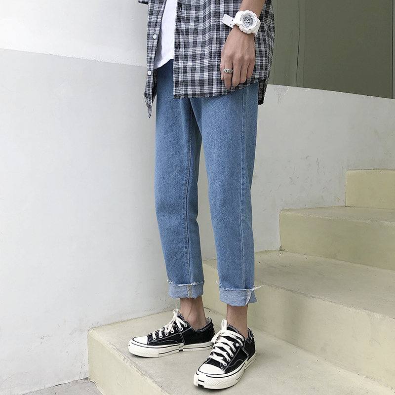 2019 Self cultivation slim fit Jeans homme men Bound Feet Solid Color Pants in Jeans from Men 39 s Clothing