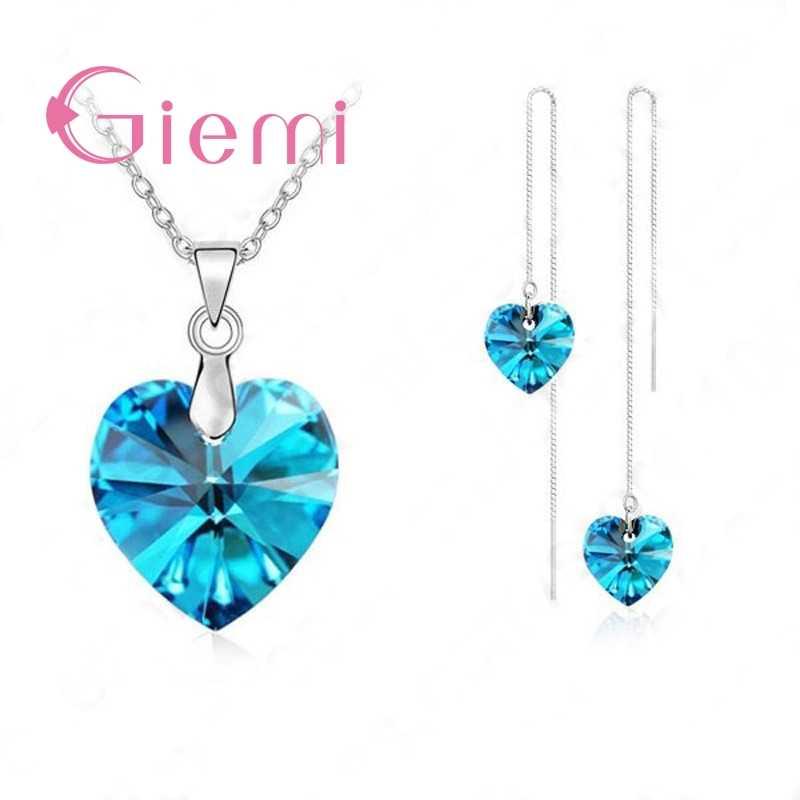 Authentische 925 Sterling Silber Schmuck Sets für Frauen Mädchen Geschenke Österreichischen Kristall Herz Anhänger Halskette Gewinde Ohrringe Kette