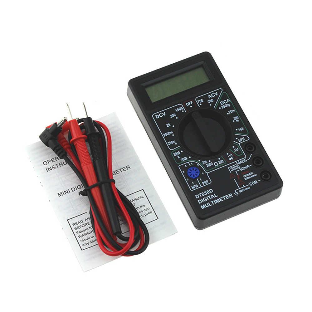 مقياس الفولتميتر الرقمي الصغير DT830D مقياس الجهد أمبير أوم الفاحص تيار مستمر التيار المتناوب مقياس التيار الكهربائي اختبار مع مسبار الرصاص الجرس