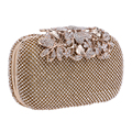 Bolsos de Noche de Diamantes Flor Hoja caliente Día de Embrague Bolsos de Noche de Las Mujeres Bolsa de Hombro Bolsa de Cadenas Para El Banquete de Boda